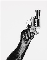 monkey with gun, new york city by albert watson