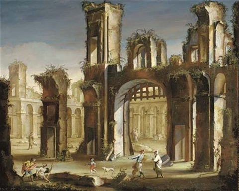 a capriccio of classical ruins with figures by vincenzo del re