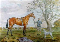 portrait of a chestnut racehorse and a stable lad, with a dalmation at his side by george algernon fothergill