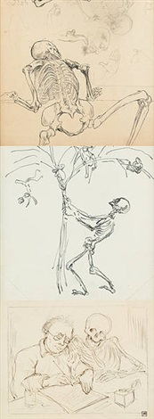 squelette (+ 2 others; 3 works) by félicien joseph victor rops