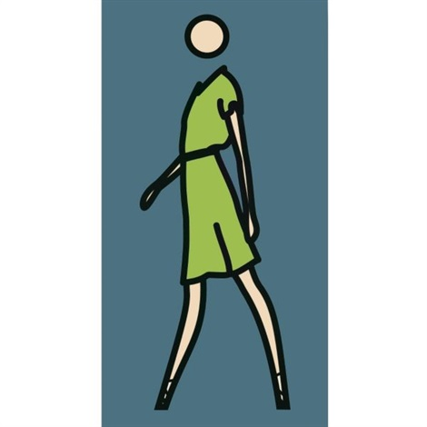 suzanne walking in green dress by julian opie