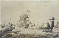 vaisseau de guerre des provinces-unies et autres bateaux sur une mer agitée by adriaen van salm