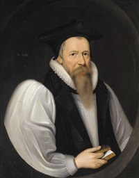 portrait of john king holding a prayer book in his right hand by nicholas lockey