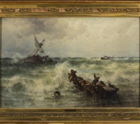 shipwreck on a coast by theodor alexander weber