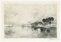 morning on the st. john's, florida (+ morning, etching, 1886) by thomas moran