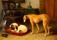 twee treurende honden bij het harnas van hun overleden meester by conradyn cunaeus