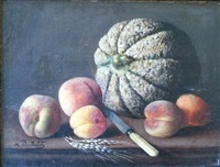 nature morte aux pêches et au melon by marius barthalot