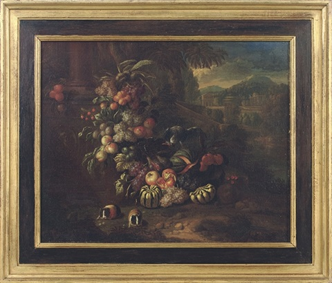 grapes pumpkins melons and other fruit a parrot and two guinea pigs in an italianate landscape by jan pauwel gillemans the younger