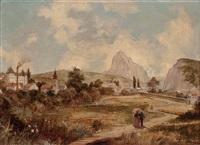 wanderndes paar in landschaft mit schloss und eisenbahn by georg willy stieborsky
