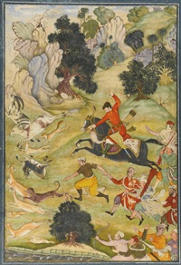 a landscape scene with a mughal prince hunting (+ a prince visiting an ascetic, verso) by anonymous-indian-mughal (16)