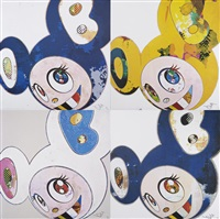 and then x6 (white: the superflat method, pink and blue ears); (marine blue: the superflat method); (blue); and then, and then...yellow universe (4 works) by takashi murakami
