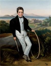 portrait de jeune homme, probablement ferdinand marie de savoie, comte de savoie by alexis leon louis valbrun