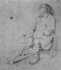 study of a boy sleeping in a chair by moses ter borch