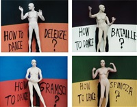 dancing philosophy: (i) how to dance bataille; (ii) how to dance deleuze; (iii) how to dance spinoza; (iv) how to dance gramsci (4 works) by thomas hirschhorn