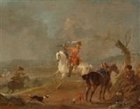 kavaliere bei der falkenjagd by august querfurt