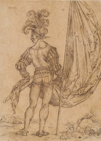 a standard bearer seen from behind by hans suess von kulmbach