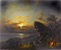figures round a fire by moonlight by fritz siegfried george melbye