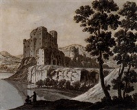 a ruined castle by a lake by robert adam