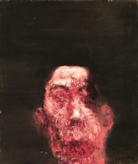 紫红色的男人头像(自画像) (purple-red portrait of a man (self-portrait)) by zhou chunya