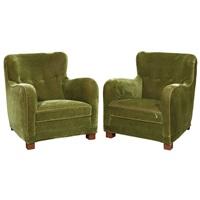 club chairs, early 20th century, for a. j. iversen (pair) by kaj gottlob