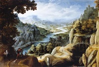 an extensive mountainous river landscape with the reconciliation of jacob and laban, a fortified town on a cliff-top beyond by tobias verhaecht