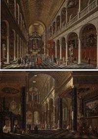 iglesia de los jesuitas de amberes (pair) by jacobus balthasar peeters
