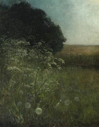 landscape with green bushes and dandelion seed heads by georg nicolaj achen