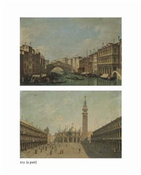 the grand canal, venice, looking towards the rialto; the piazza san marco, venice, looking east (pair) by italian school-venetian (19)