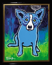 blue dog with moon by george rodrigue
