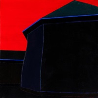 building with blue trim against a red sky by harold joe waldrum