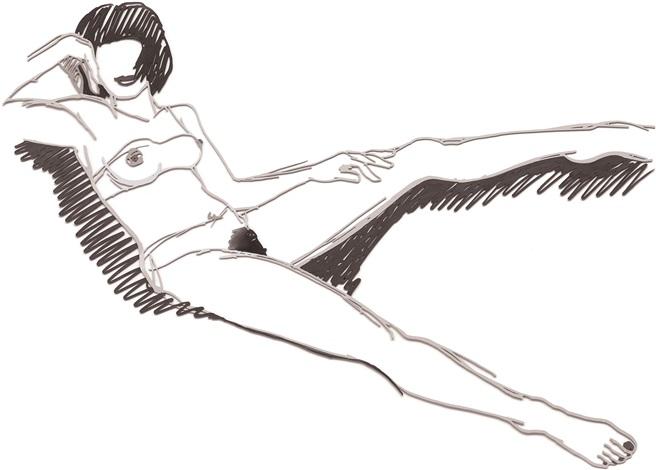 monica sitting back with spread legs grey by tom wesselmann