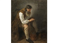 a bearded man seated before a fireplace by noel halle