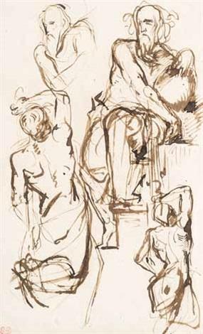 figurenskizze mit sitzendem mann nach klassischem vorbild (sketch) by eugène delacroix