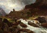 mountain landscape with cattle by johann gottfried steffan