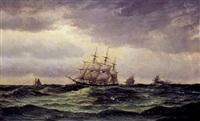 marine med sejlskibe på åbent hav by edvard skari