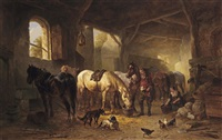 a sunlit stable interior with a stable boy and his horses by wouter verschuur the elder