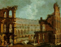 rome: a capriccio of the colosseum with figures examining pieces of ancient sculpture by pietro francesco garoli