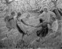 children singing and dancing in a circle by frans nackaerts