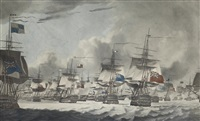view of the british fleet bearing down to attack the dutch fleet under the command of admiral de winter (+ passage of the sound; 2 works) by robert dodd