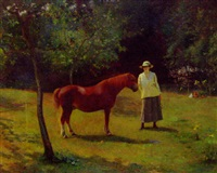 portrait of a lady, standing in an orchard with a pony by henry thomas jarman