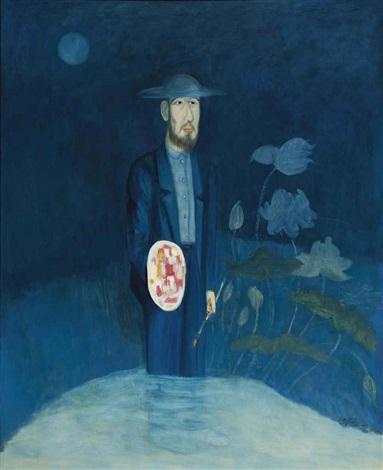 painter standing by the lotus pond by chiu ya tsai