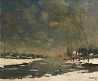 passeur sur la lys en hiver by albert saverys