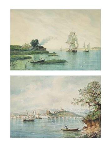 san vicente de la barquera santander and sailing vessels coming into port pair by raphael monleon y torres