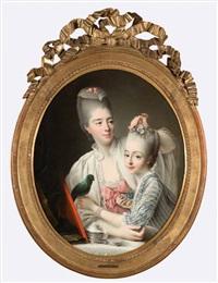 portrait d'une dame de qualité coiffant sa fille accompagnée de son perroquet by françois hubert drouais