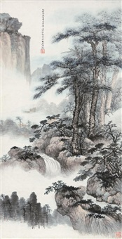 松壑云泉图 立轴 设色纸本 (painted in 1935 pine and waterfall) by wu hufan