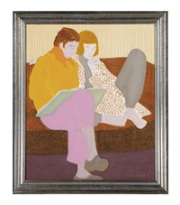 untitled (seated couple on a sofa) by march avery