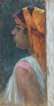 jeune orientale au foulard by eugène assézat de bouteyre