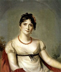 portrait of the empress josephine of france wearing a white muslin dress by firmin massot