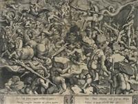 der sturz der giganten (after giulio romano or rosso di rossi) by cornelis bos