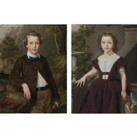 portrait of john taylor (+ portrait of deborah taylor; pair) by seymour joseph guy
